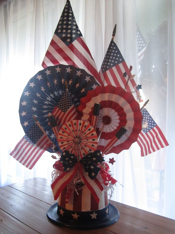 Easy DIY inexpensive 4th of July table centerpiece. Perfect Patriotic party decoration idea.