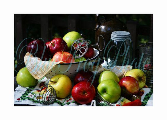 Apples Photo Still Life 9X14 Fine Art Photograph by BlueFrogPhoto,