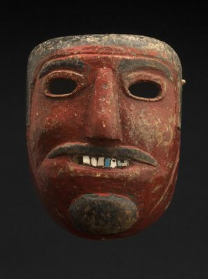 Regional Masks    Mexico - Oaxaca Carnival mask, possibly Moor  , 2nd quarter of the 20th century Wood, tile teeth 7.25 x 5.5 x 4 inches  /  18.4 x 14 x 10.2 cm  /  M 29