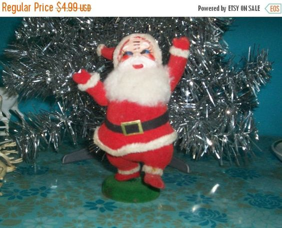 """Flocked Santa Claus Figure 6 1/2"""" Tall by thetrendykitchen on Etsy"""