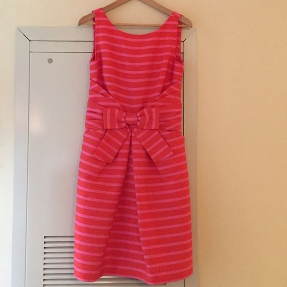 Kate Spade Pink And Orange Stripe Dress Beautiful With Ribbon Detail