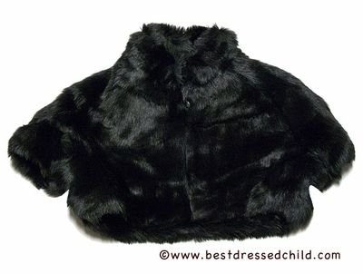 Biscotti Girls Snow Princess Dressy Faux Fur Shrug - Black