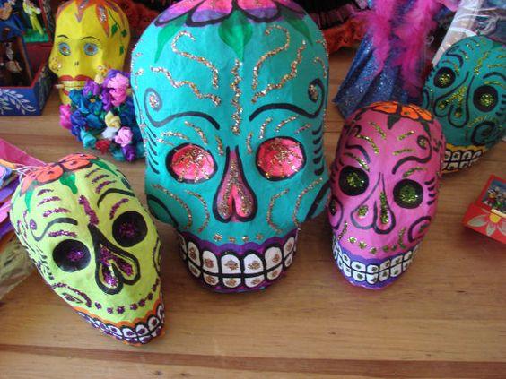 Day of the Dead paper mache skulls