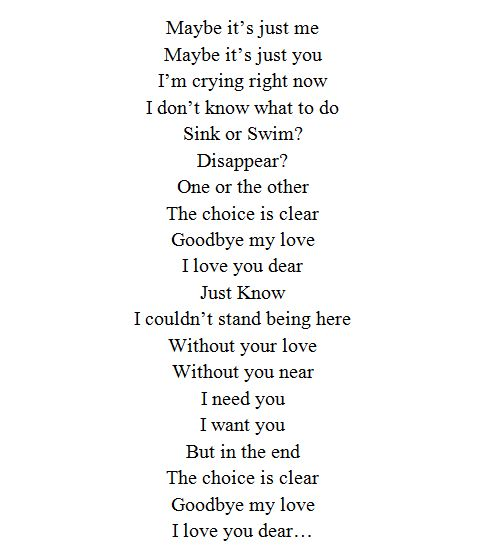Goodbye my love I love you dear Suicide Notes Pinterest