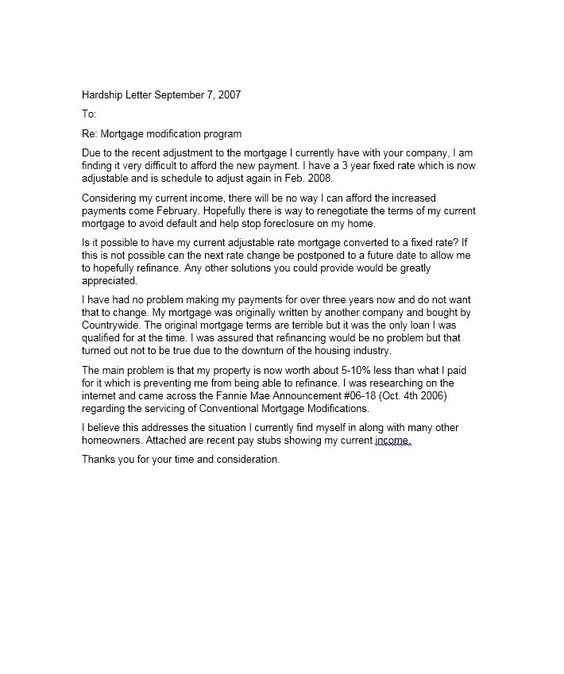 Hardship Letter Template 17 sherwrght@aol Pinterest - loss mitigation specialist sample resume