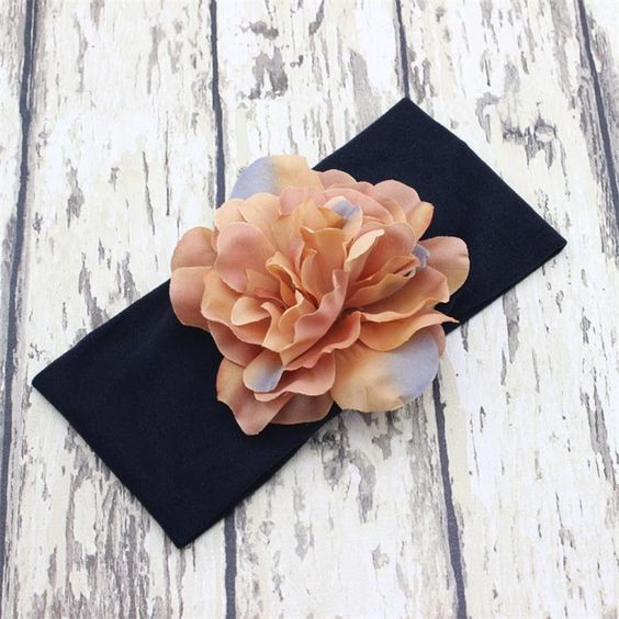 Flower Soft Cotton Headband-Black Band Beige Flower #accessories #custom-headbands #headbands #new #spring-line