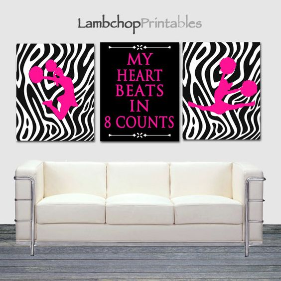 My Heart beats in 8 Counts Cheerleading, printable, cheerleading gift, cheer gift Set by LambchopPrintables