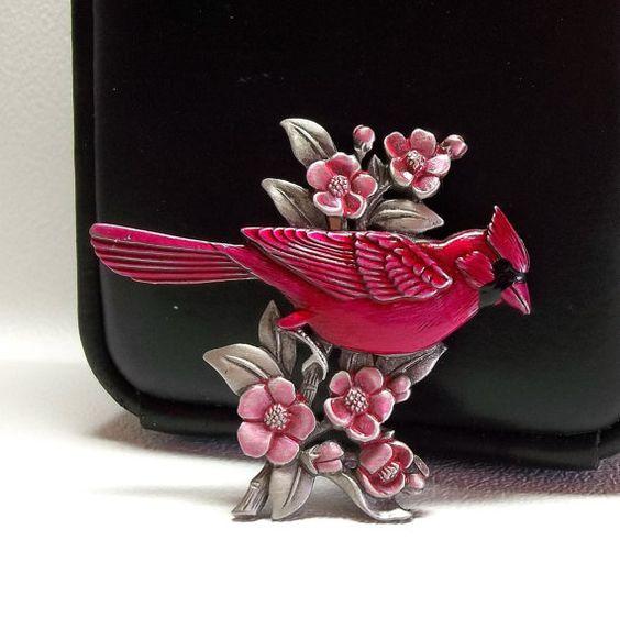 JJ Red Bird Flowers pin brooch pewter by dollherup on Etsy, $18.00