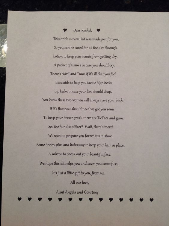 bridal survival kit poem