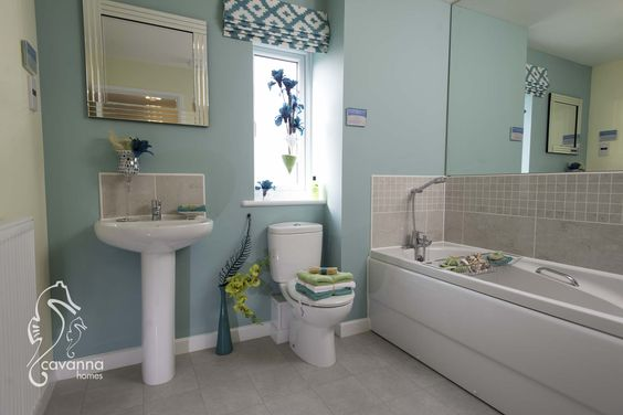 Turquoise bathroom, new home, 4 bedroom townhouse.