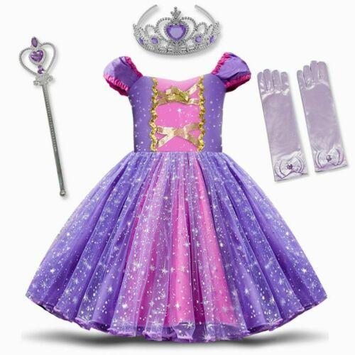 Baby Kids Rapunzel Princess Fancy Dress Costume Girls Toddler Birthday Outfit