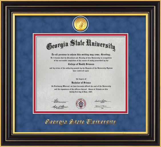 GSU Diploma Frame - Satin Black - w/GSU Medallion - Blue Suede/Red mat – Professional Framing Company