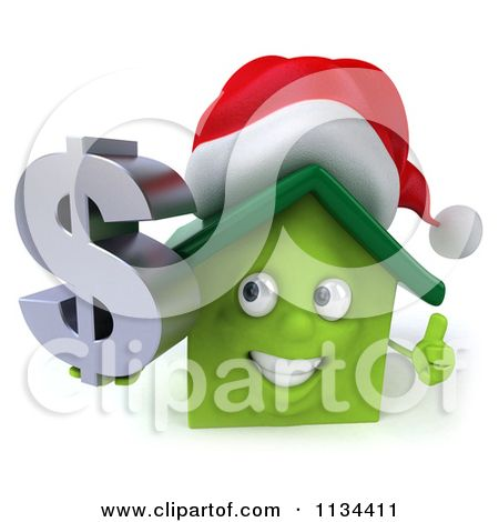 Clipart Of A 3d Christmas Green House Holding A Dollar Symbol - Royalty Free CGI Illustration by Julos