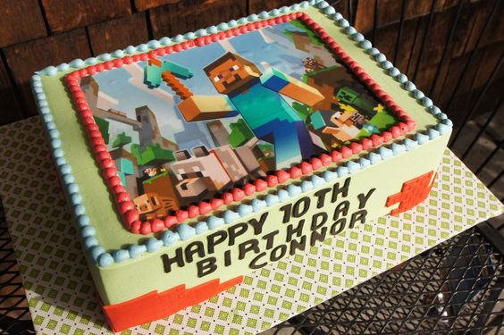 Minecraft themed birthday sheet cake with edible image