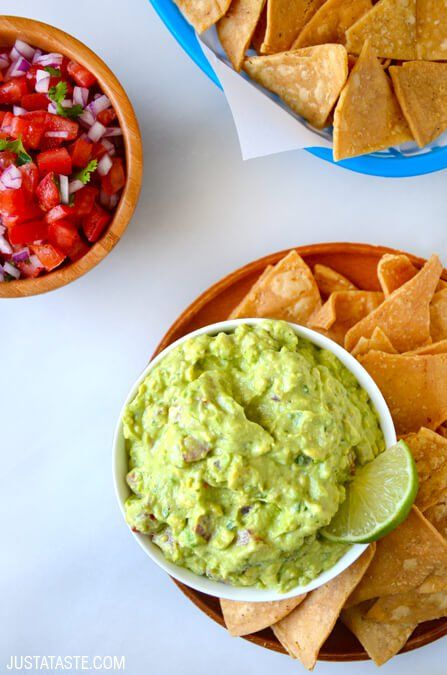 Creamy Greek Yogurt Guacamole | www.justataste.com | #recipe #guacamole #healthy