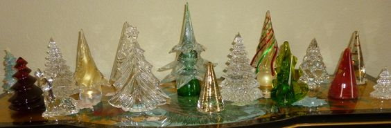 Entryway - Lladro, Waterford, Baccarat, Kosta Boda, and Murano Glass trees.