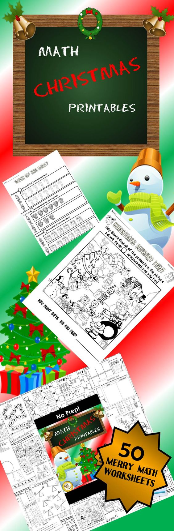 Christmas themed math worksheets for grades K-1!! NO PREP just print and go!