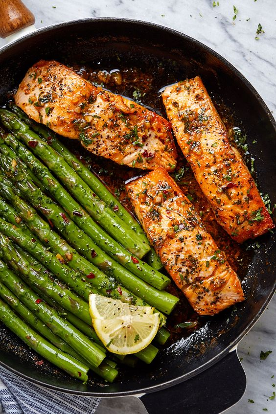 Garlic Butter Salmon with Lemon Asparagus Skillet