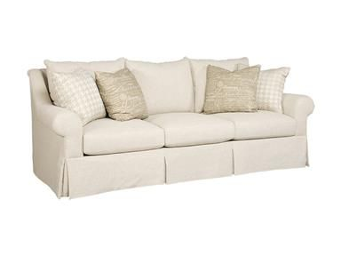 This 3 over 3 weltless sofa comes standard with blendown seat cushions and 4 - 23'' blendown throw pillows.