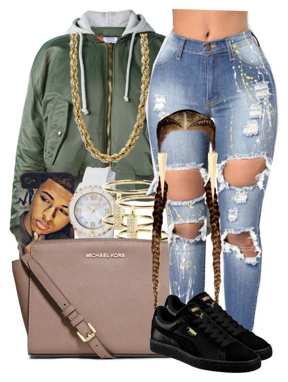 """Trill S**t"" by missk2blue ❤ liked on Polyvore featuring Vetements, Simmons, Stührling, Ileana Makri, MICHAEL Michael Kors, Puma and Elizabeth and James"