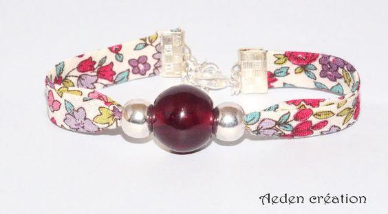 Bracelet Liberty violet- perles argenté - Enzo