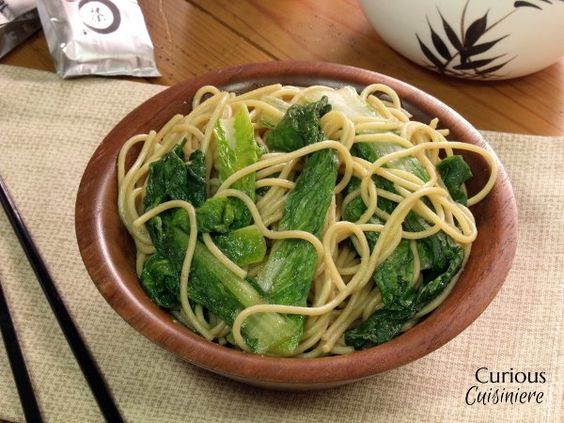Garlic and ginger add dept of flavor to this simple, yet tasty dish of bok choy with noodles.