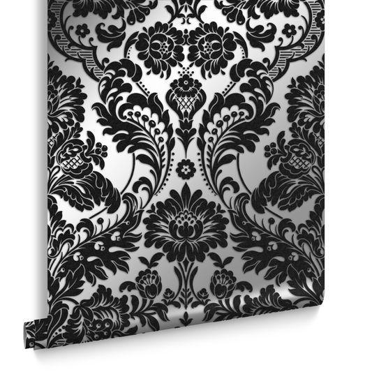 Gothic Damask Flock Black Silver Wallpaper Graham Brown Uk Black And Silver Wallpaper Silver Wallpaper Silver Wallpaper Bathroom