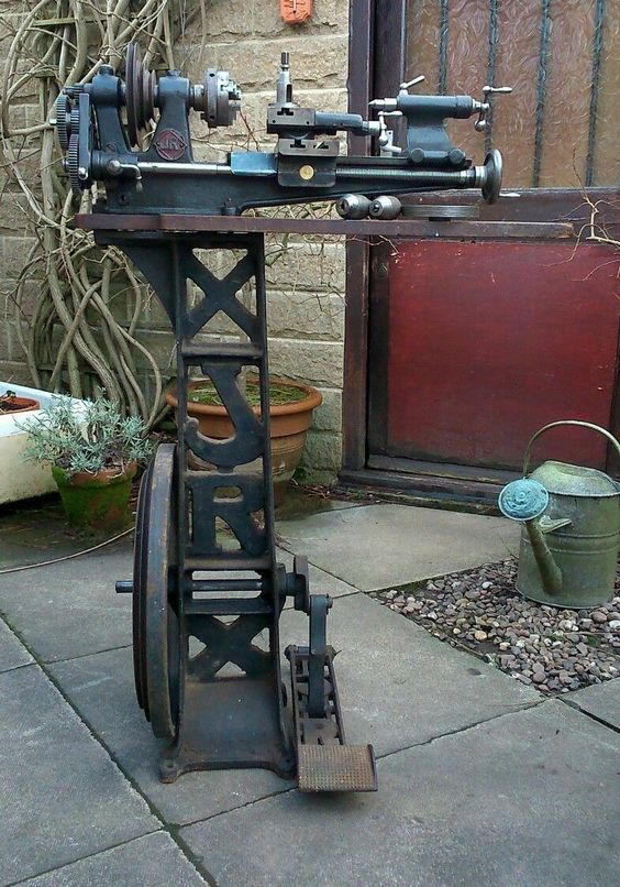 Rare Jackson Rigby Jr Treadle Engineer Metal Lathe With