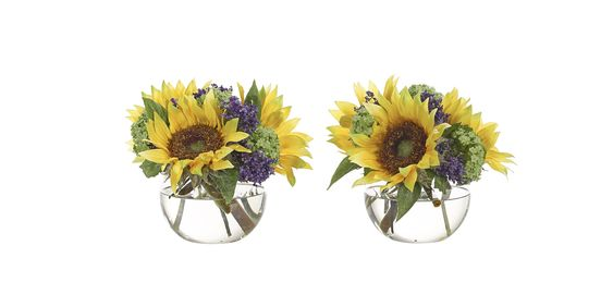 Sunflower | Set of 2 (YF174/2): Sunflower Statice, Yellow Purple, Glass Bubble, 10wx10dx8h