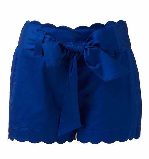 scallop trim high waisted shorts