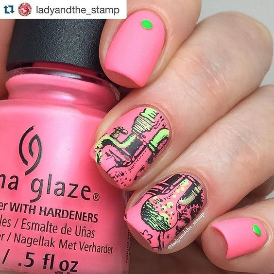 #Repost @ladyandthe_stamp with @repostapp. ・・・ Isn't this image from @heheplate 062 just COOL! I wonder what I'm cooking up here.....maybe a new batch of magical nail polish....hey..I should have used gitd polish to colour that in! I always have these bright ideas a bit too late......... The base is @chinaglazeofficial Lip Smackin' good from the new #chinaglazelitebrites Stamping polish is @mundodeunas black Neon studs are from @bornprettystore