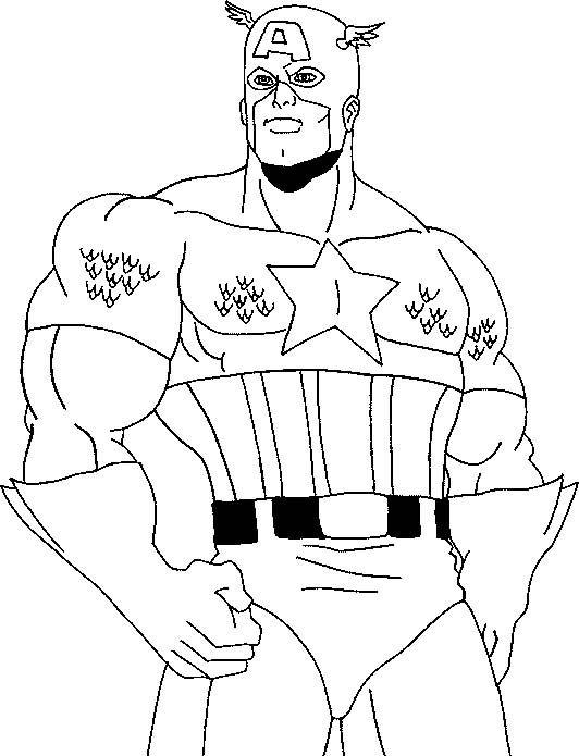 Printable Lego Marvel Superheroes Captain America Coloring: Captain America Hero Coloring Page