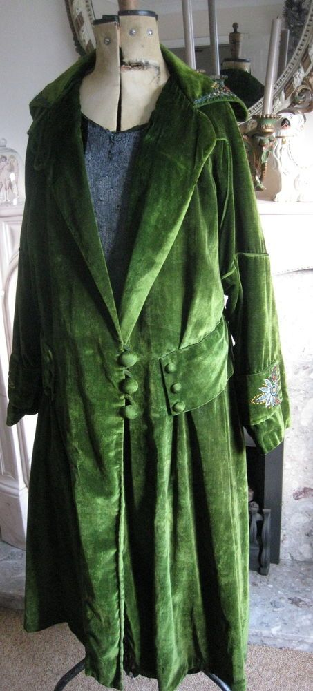 Details about Fabulous Embroidered Flapper Antique Vintage Green