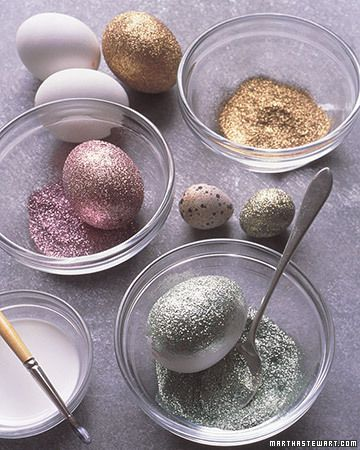 How to Make Glittered Eggs by marthastewart: So much fun for everyone!