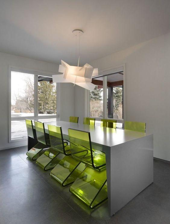 Minimalist Interiors | Arch11Studio, Colorado - clear green chairs, ultra modern sleek lines