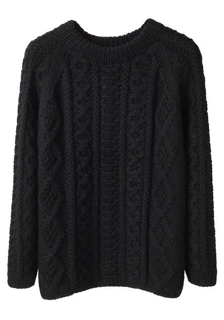 Perfect black cable knit sweater. I have almost this exact sweater ...