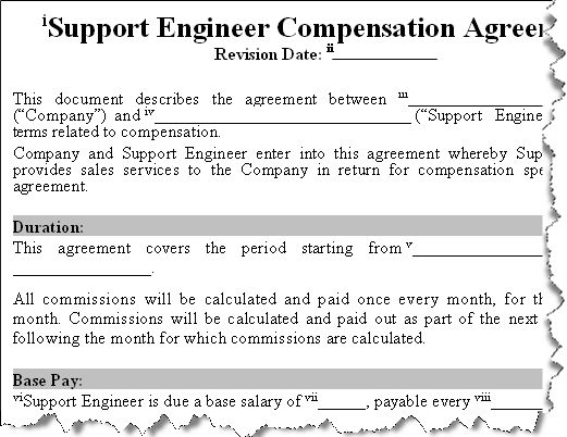 Buy Sales Commission Agreements Templates - Software Support - auto contract template