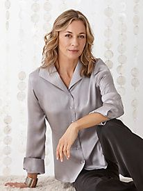 Washable Silk Charmeuse Wing Collar Blouse