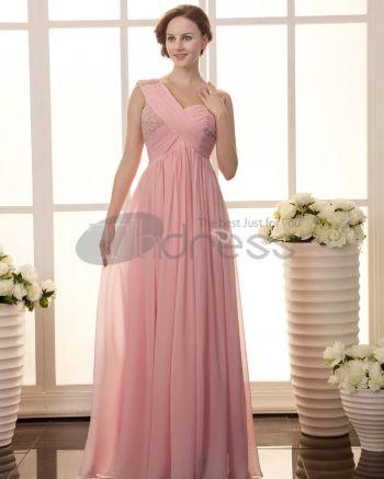 Long Evening Dresses-Solid Ruffle Beading One Shoulder Sleeveless Chiffon Women Evening Dress