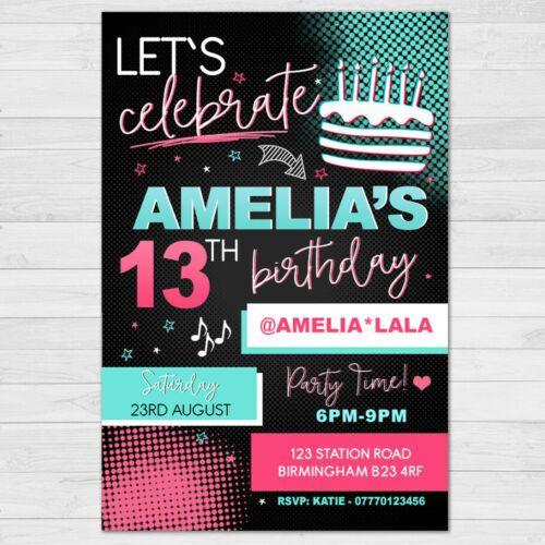 Personalised Tik Tok Invitation Birthday Party Invites Tiktok 10 Envelope Birthday Party Invitations Printable Party Invitations 13th Birthday Invitations