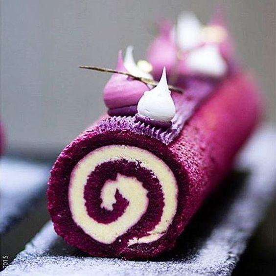 Roulade Cassis] sponge roll, cassis confit, vanilla cream, black currant ganache, & meringues.