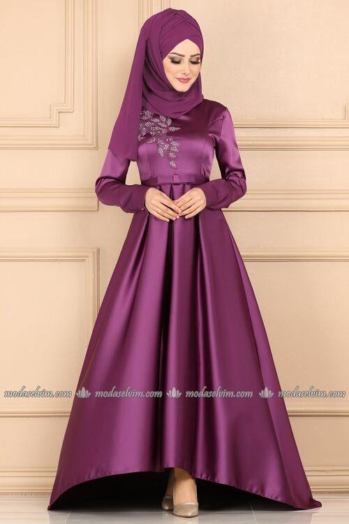 Modaselvim Abiye Fiyonk Kemerli Tasli Tesettur Abiye 9132w153 Gul Kurusu Moda Stilleri The Dress Elbise