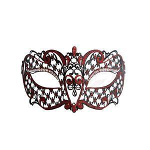 Metal Venetian Black With Red Half Mask #Halloween #mask #venetian #masquerade