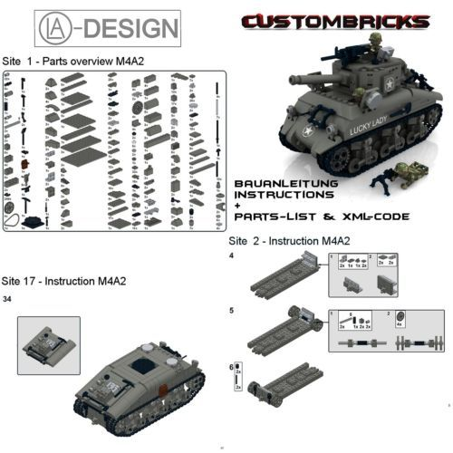 custom instruction sherman m4a2 wwii ww2 army tank pdf made of lego brick ebay blue 39 s b day. Black Bedroom Furniture Sets. Home Design Ideas