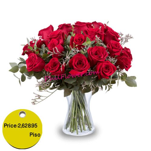Delivery 24 Red Roses To Philippines Red Roses Clear Vases Flowers Online