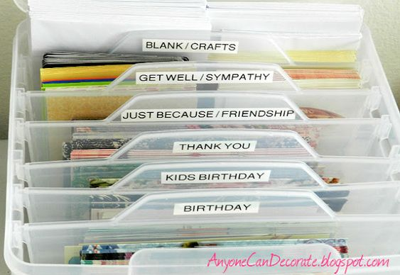 How to organize your greeting cards  www.anyonecandecorate.blogspot.com