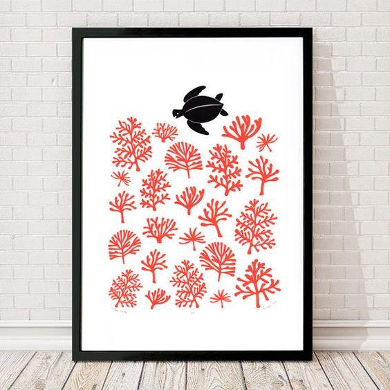 "Fine Art Print ""Meeresschildkröte"" A2-Größe - FREE Worldwide Shipping"