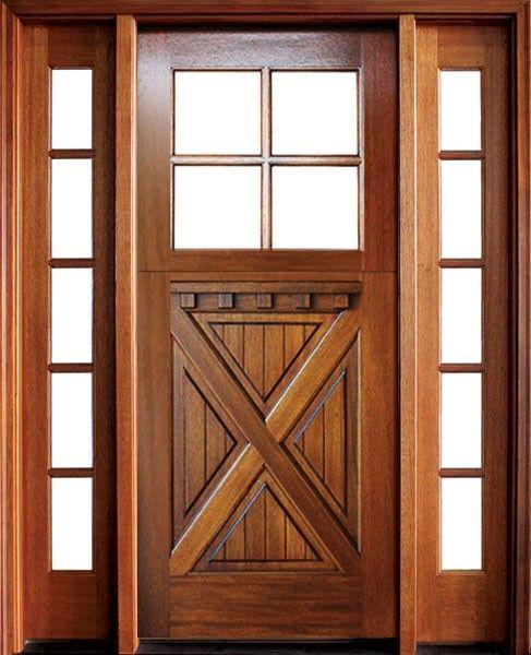Craftsman Mahogany Crossbuck 4 Lite Square Single Door 2sidelite Single Doors Wood Front Entry Doors Exterior Wood Entry Doors