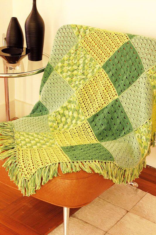Manta de sof em patchwork knit crochet etc for Mantas para sofas