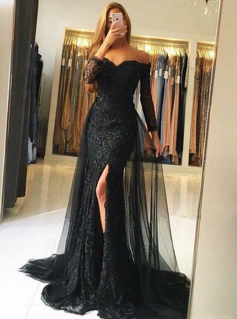18++ Off the shoulder lace prom dress information